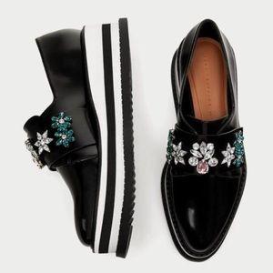 Zara Jeweled Black And White Oxfords